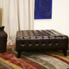 Faux Leather Large Brown Tufted Ottoman Foot Stool