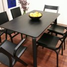 Designer Modern Black Wood Dining Room Table and Chairs