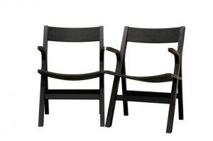Designer Mid Modern Black Wood Dining Room Arm Chairs 2