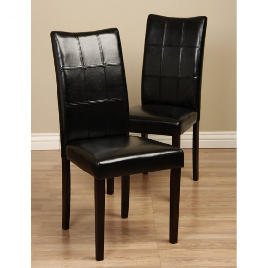 Modern faux leather wood parsons dining chairs set for Leather parsons dining chair