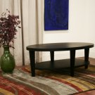 Modern Oval Black Oak Wood Veneer Coffee Cocktail Table