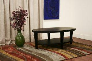 Modern Oval Black Oak Wood Veneer Coffee Cocktail Table