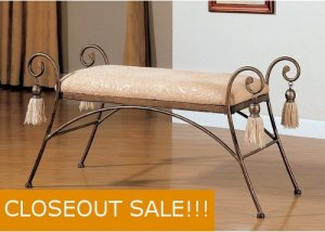 Bedroom Bed Scrolled Metal Bench Vanity Stool Chair