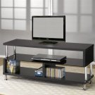 "Black Glass & Wenge Wood 48"" Modern Style TV LCD Stand"