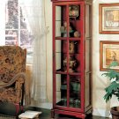 Cherry Wood & Glass China Display Curio Cabinet NEW