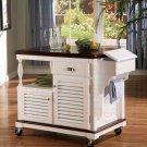 White Wood Kitchen Storage Island Cart Beech & Cherry