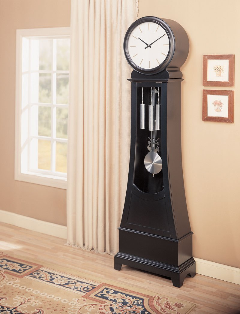 Contemporary Grandfather Clock Black Wood Modern