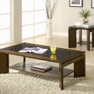 Contemporary Modern Oak Wood Black Glass Coffee Table