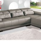 6008 Leather Gray Sectional Sofa Couch Contemporary New