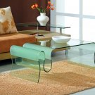 Modern Clear Multiple Curved Glass End Coffee Table
