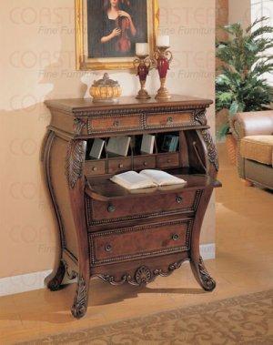 Secretary Bombe Hall Chest Desk with Drop Lid Storage