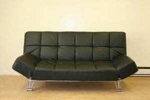 Modern Leather Futon Sofa Bed Sleeper w Adjustable Arms