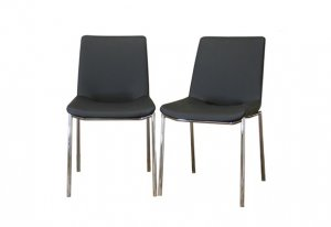 Modern Black Upholstered Leather Dining Room Chairs Set
