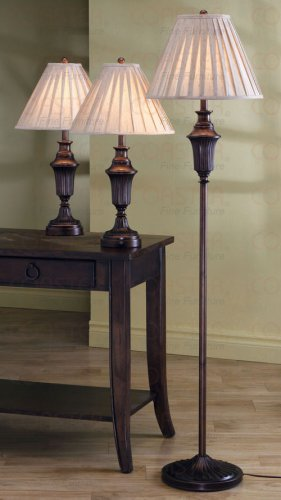 Traditional Brown Finish Urn Base Floor Table Lamp Set