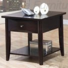 Modern Cappuccino Maple Veneer End Table w/ One Drawer