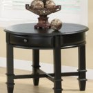 Modern Black Round Side End Table w/ Casters & Drawers