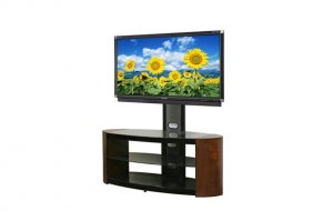 Cherry Veneer & Glass Oval TV Stand Integrated Mount
