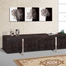 Modern Wood Wenge TV Stand Console Front Metal Stands