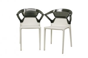 Modern Molded Plastic Dining Chair Set Acrylic Backrest