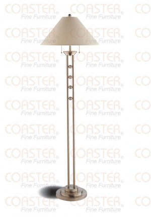 Modern Stain Nickel Metal Floor Lamp w Tan Fabric Shade