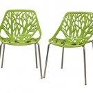 Modern Plastic Steel Forest Dining Room Chairs Set New