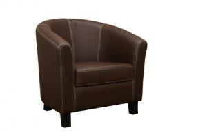 Modern Dark Brown Faux Leather Club Chair White Stitch