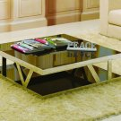 Contemporary Glass & Steel Coffee Table Living Room 929