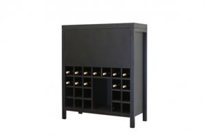 Modern Bordeaux Wine Liquor Cabinet Dry Bar w/ Cubbies
