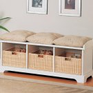 Modern Casual Storage Bench Chair w/ Baskets & Cushions