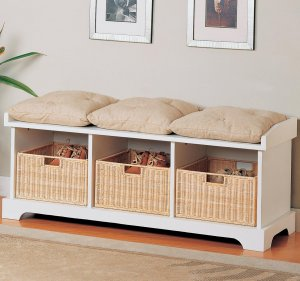Modern Casual Storage Bench Chair w/ Baskets & Cushions