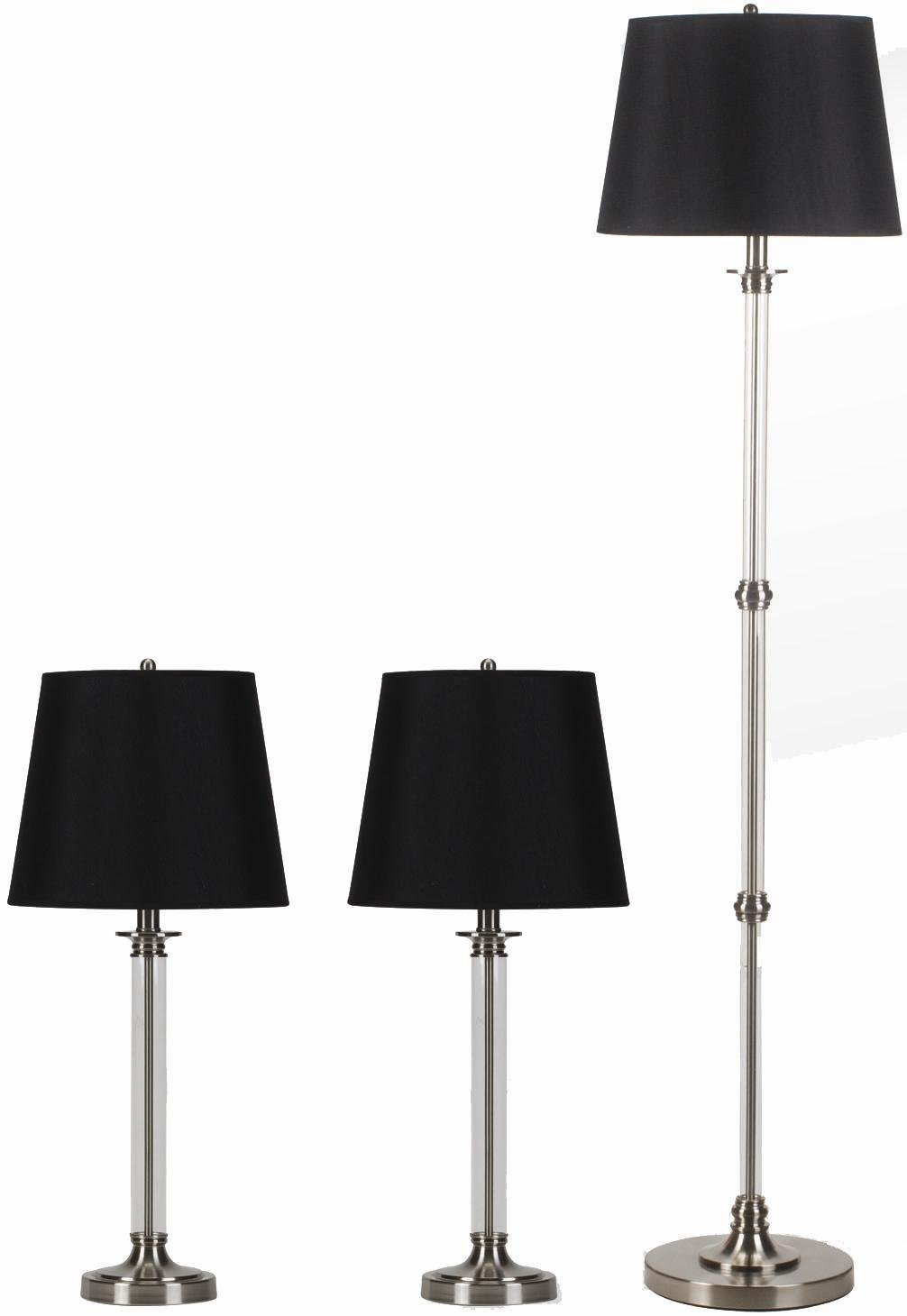 Translucent & Silver Table Floor Lamp Set Black Shades