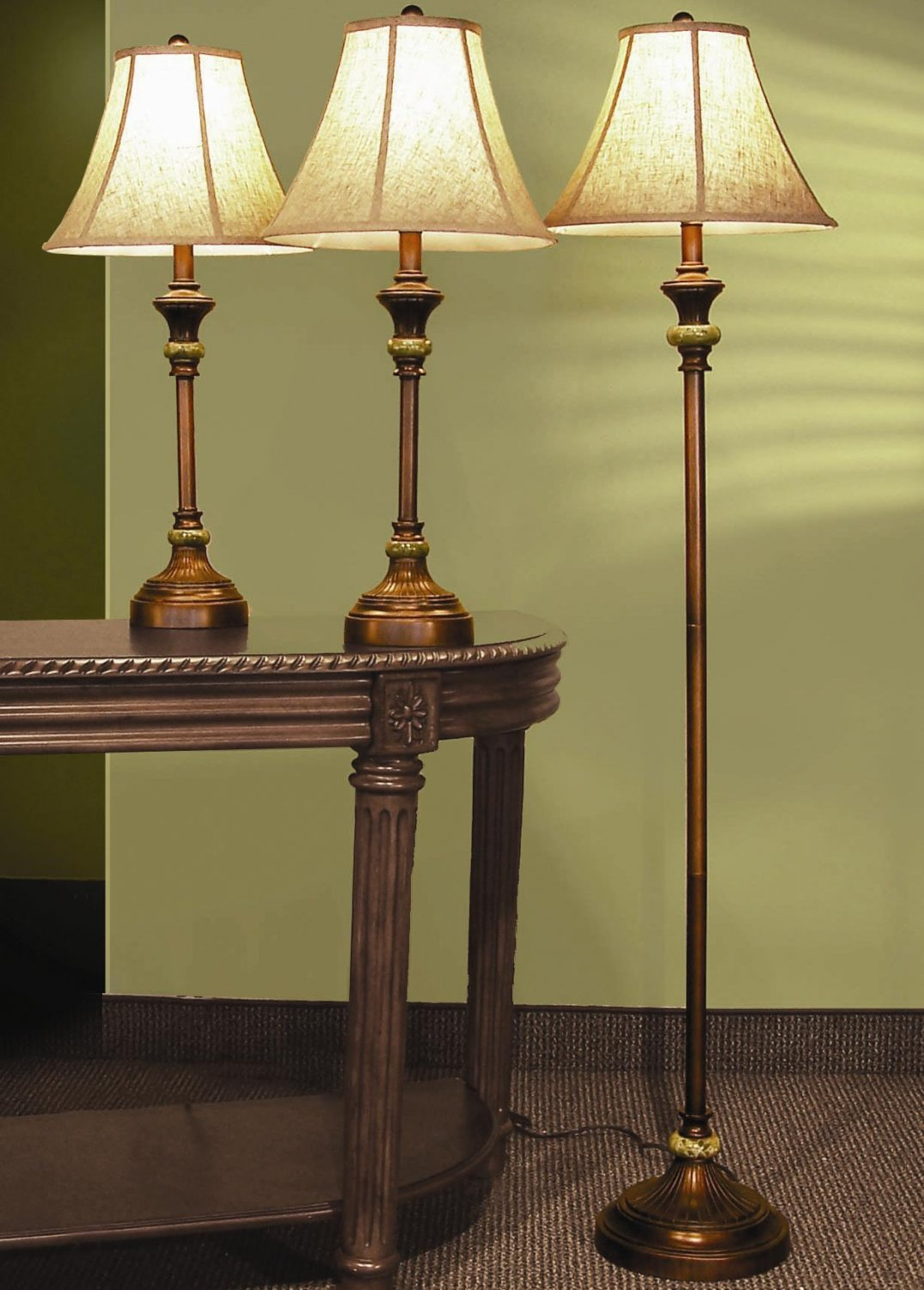Retro Bronze Fluted Table Floor Lamp Set w/ Gold Shades