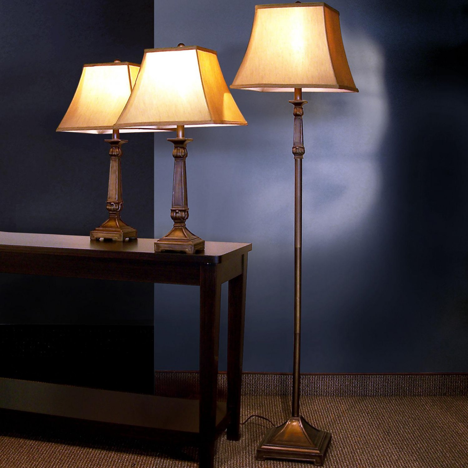 Traditional Bronze Table Floor Lamp Set w/ White Shades