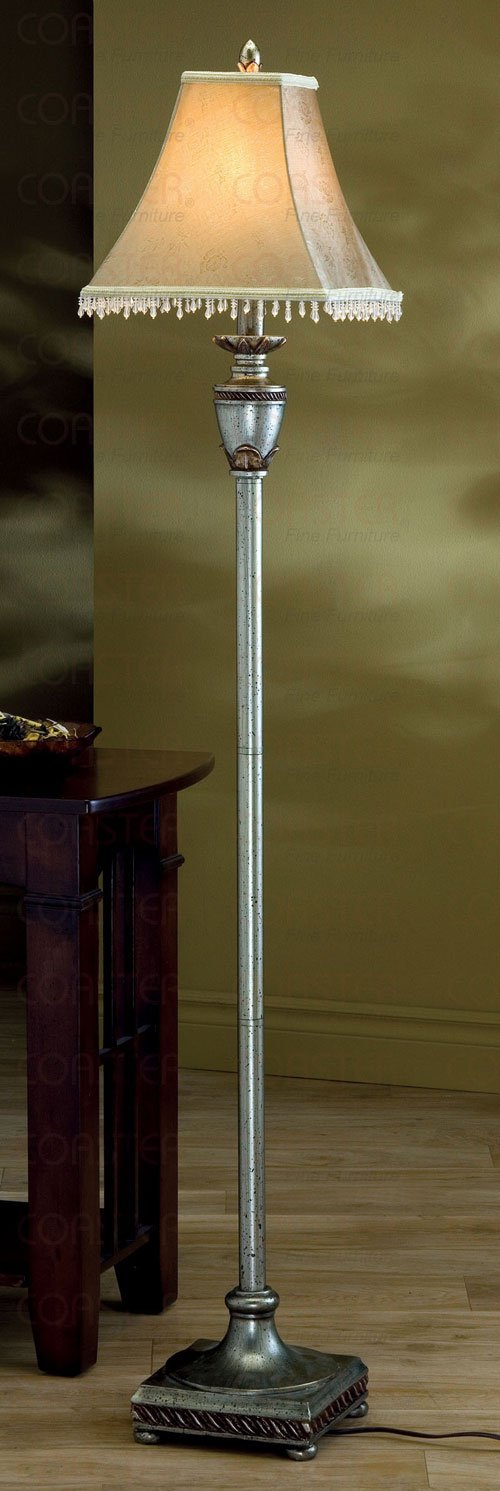 Antique Gold Finish Floor Lamp Beaded Fabric Bell Shade