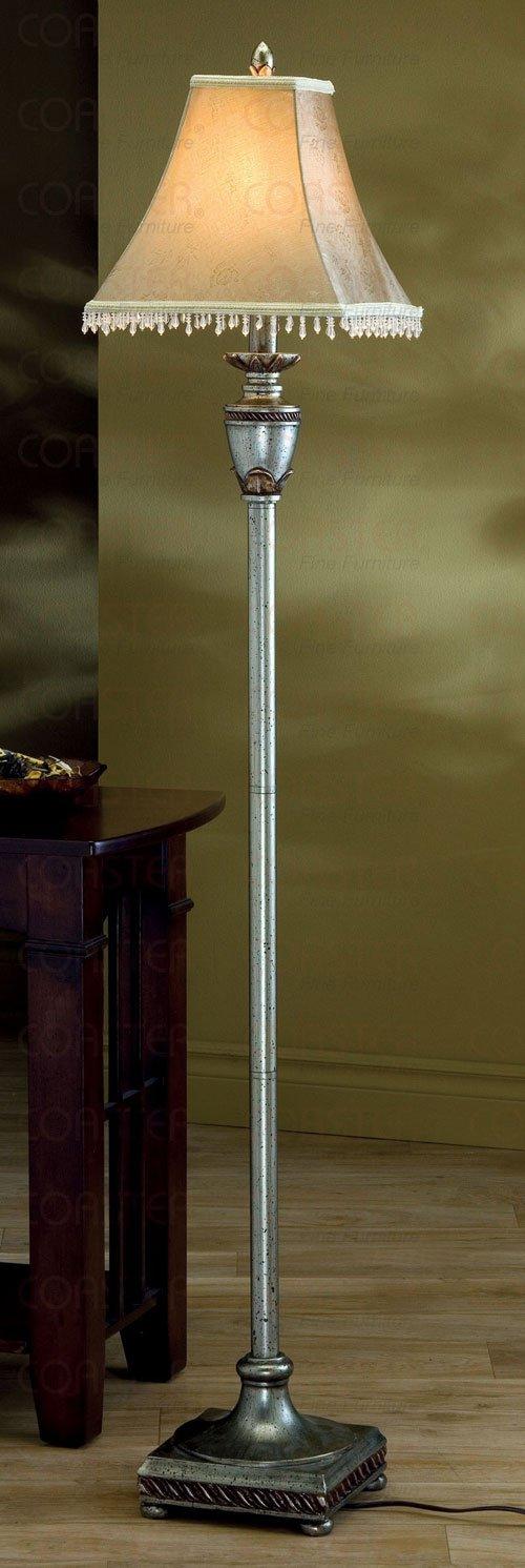 Antique Gold Finish Floor Lamp Beaded Fabric Bell Shade