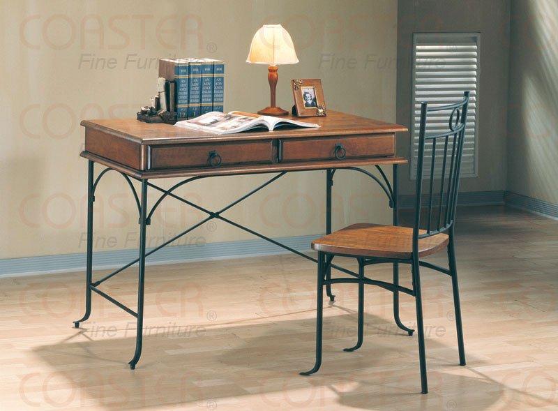 Modern Casual Table Desk Chair 2 Piece Set Metal & Wood