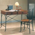 Modern Casual Table Desk Chair 2 Piece Set Metal & Wood