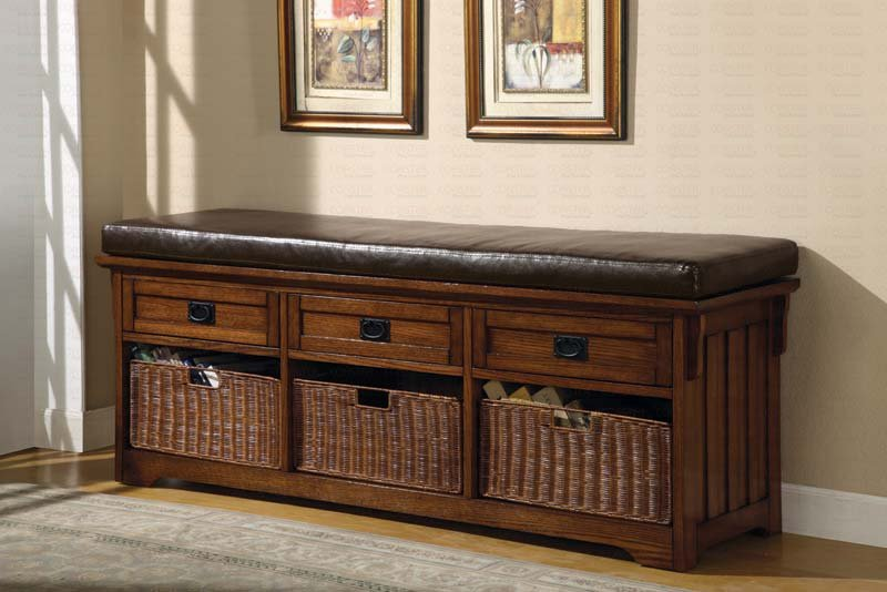 Modern Storage Bench Chair Baskets and Upholstered Seat
