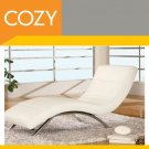 Modern Contemporary White Leather Chaise Lounge - Chair -father's day gift idea