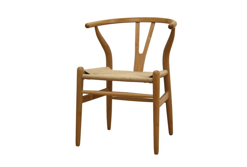 Danish Mid Century Modern Y Style Back Wood Dining Side Chair