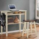 Small Hallway Kitchen Console Desk Table & Stool Set Wood, Oak & White