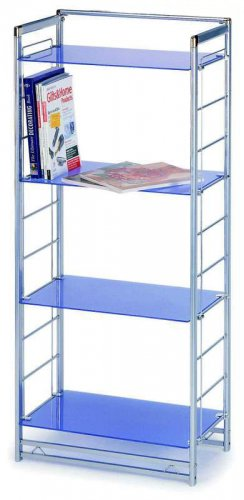 Modern Blue Stainless Steel End Shelf Bookcase Unit Office Kids Room Library