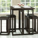 Small Wenge Collapsible Wood Bar Bistro Pub Square Table w/ Stools Set
