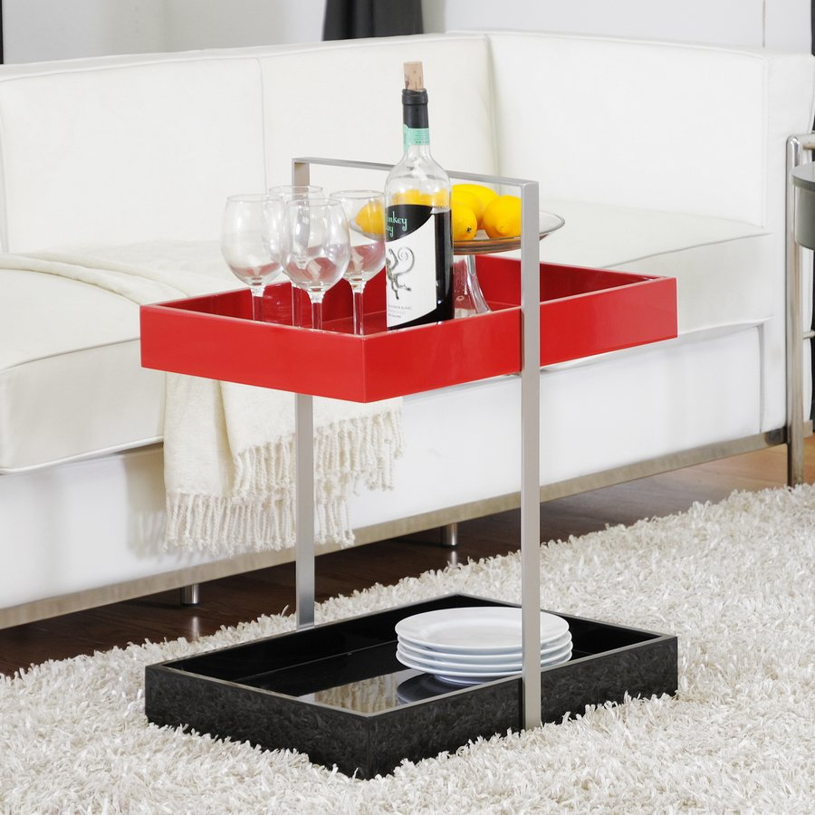 Modern Black Red Gloss Tray Accent Side Coffee End Bedside