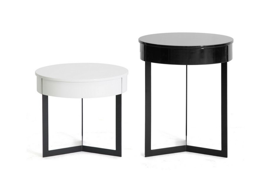 Yin Yang Modern Round End Coffee Bedside Tables High Gloss Storage