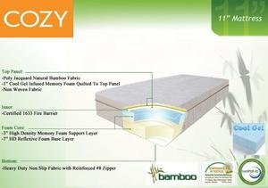 Cool Gel Memory Foam Sleep Mattress 11 inch Twin, Full, Queen, King
