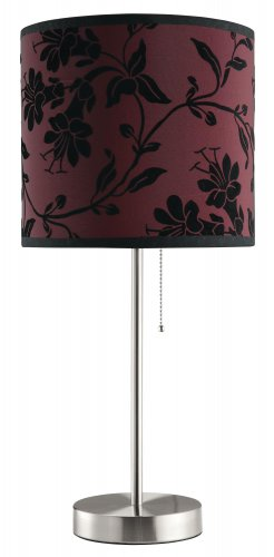 MODERN TABLE LAMP IN RED OR WHITE WITH BLACK FLORAL DESIGN BY COZY�