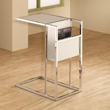 MODERN ACCENT SNACK TABLE BLACK OR WHITE WITH MAGAZINE RACK ON THE SIDE BY COZY�