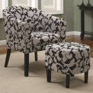 CONTEMPORARY BLACK ACCENT CHAIR AND OTTOMAN SET FLORAL PRINT 2PCS SET BY COZY™