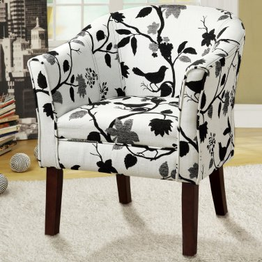 CONTEMPORARY BLACK AND WHITE FLOWER PRINT UPHOLSTERED ACCENT CHAIR BY COZY�